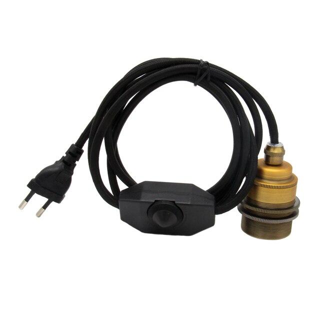 Europa podłączyć przewód zasilający przełącznik ściemniacza z E27 w stylu Vintage mosiądz gniazdo lampy uchwyt Retro wiszące oprawy oświetleniowe