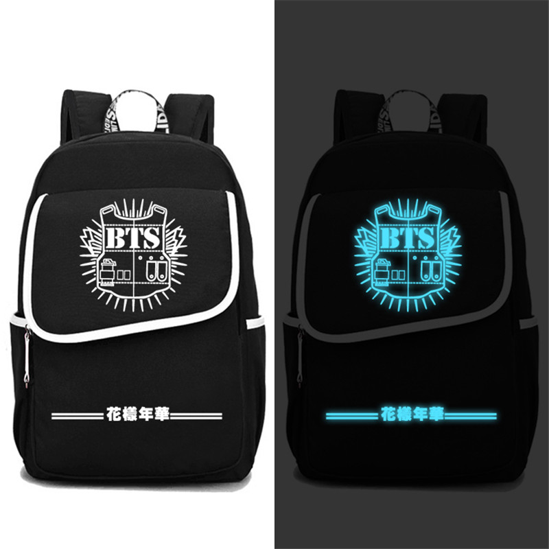 High Quality 2017 New BTS Bangtan Boys Luminous Printing Backpack Mochila Feminina Canvas School Bags Laptop Backpack Rugzak high quality 2017 hot anime detective conan only one truth prevails luminous printing backpack laptop bag mochila feminina