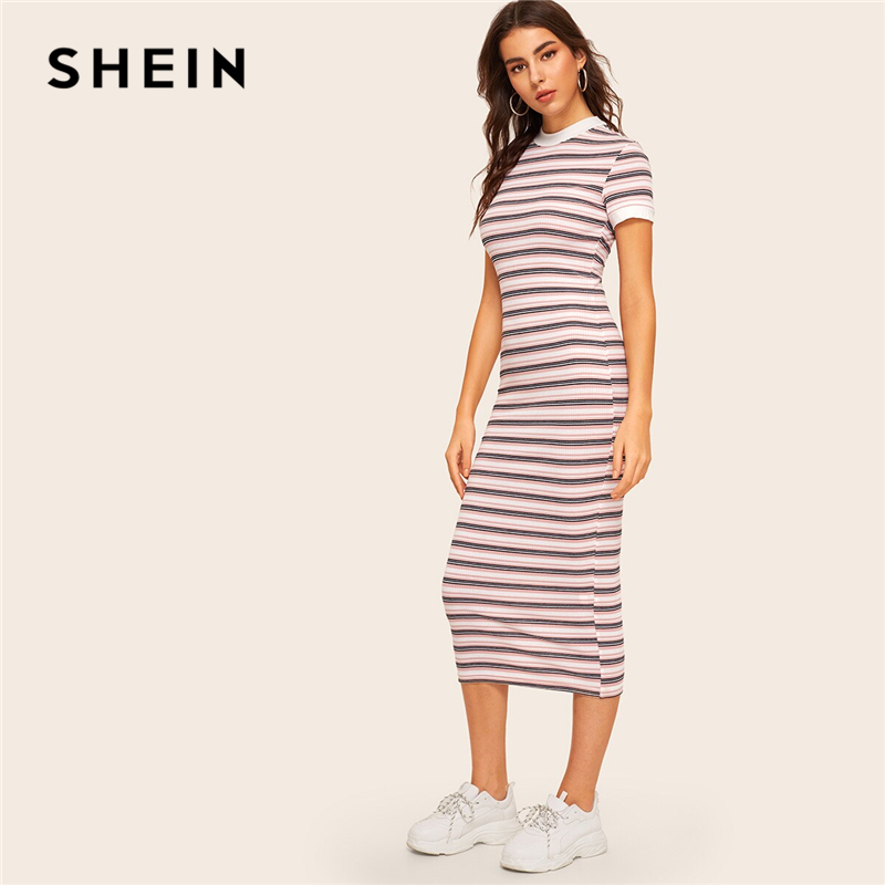 SHEIN Contrast Neck And Cuff Striped Pencil Dress 2019 Preppy Colorblock Stretchy Spring Autumn Bodycon Women Dresses