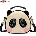 Vogue star marcas mujeres bolsa de mensajero bolsas bolso de los bolsos de cuero de las mujeres bolsos de estilo lindo panda bolsa de hombro ls262