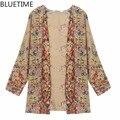 BLUETIME Kimono Cardigan Floral Blusas de Las Mujeres 2017 de La Vendimia Más El Tamaño de la Mujer Camisetas Tops de Verano Capas Blusas de Mujer de 30A