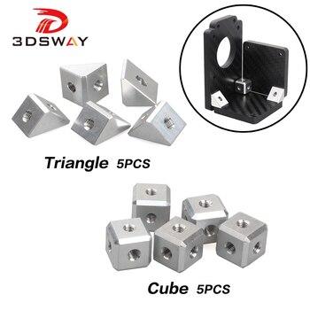 3DSWAY 3D piezas de la impresora tornillo tuerca soporte pieza de fijación conector de hojas de aluminio de triángulo y el cubo de accesorios de bricolaje 5 uds