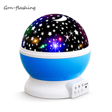 NEW GENERATION Baby Night Lights for kids Starry  Rotating Moon Stars Projector 9 Colors Options Romantic USB 5V Lighting