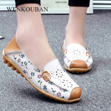 Shoes Women Loafers Moccasins Ballet-Flats Mmocassin Genuine-Leather Summer Slip-On Ladies