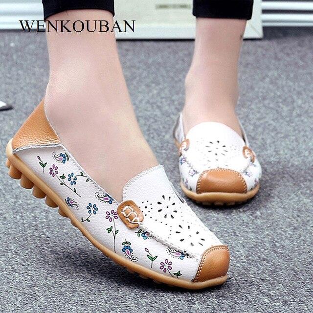 Zapatos de cuero genuino mujeres pisos de Ballet mocasines de verano  mocasines señoras resbalón en Zapatos 33ccf34e9e1