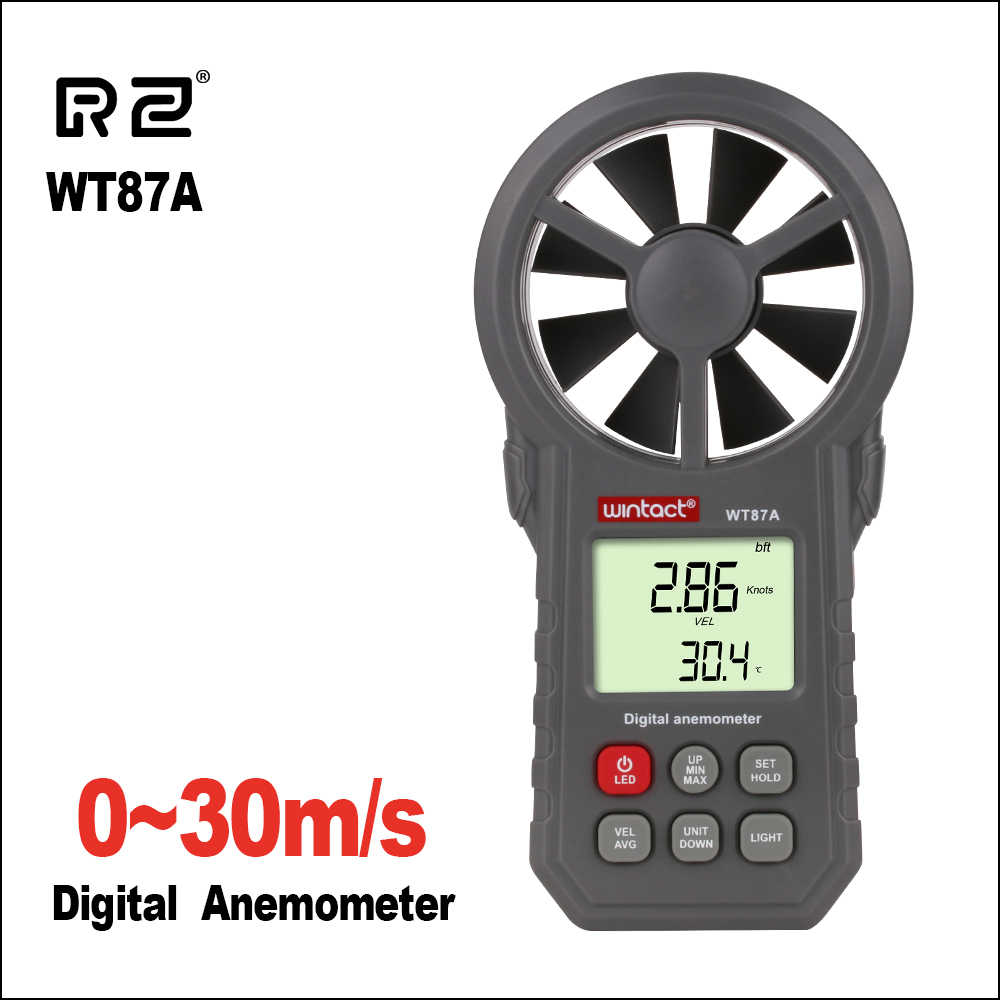 RZ Portable Anemometer Thermometer Wind Speed Gauge Meter Anemometro Windmeter 30m/s LCD Digital Hand-held  Measure Tool RZ818