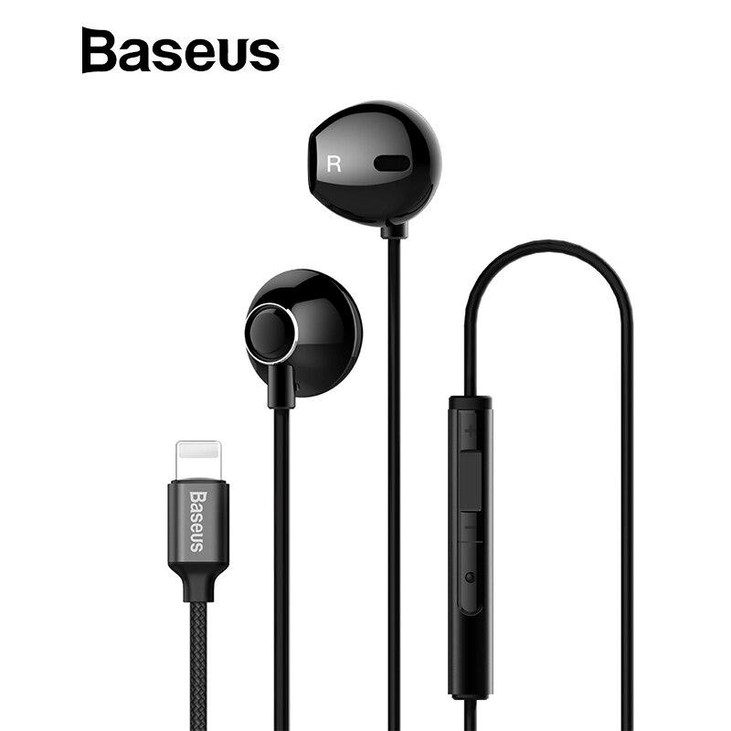 Baseus P06 cable auriculares estéreo para iPhone X 8 7 bajo sonido Hifi auriculares para iPhone rayo Jack auriculares con micrófono para ios