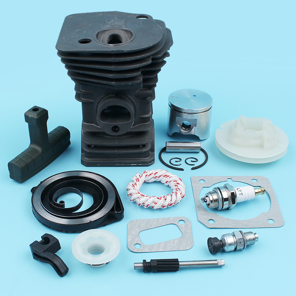 42mm Nikasil Cylinder Piston Candle Valve Starter Pulley Kit For Husqvarna 340 345 E Chainsaw Oil Pump Worm Gear Handle Grip цена