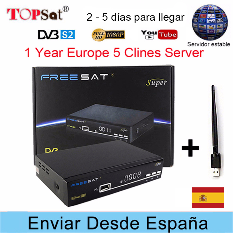 Freesat V8 Super Receptor DVB-S2 HD FTA Satellite TV Receiver + Europe Clines for 1 Year Spain +USB WIFI support powervu decoder
