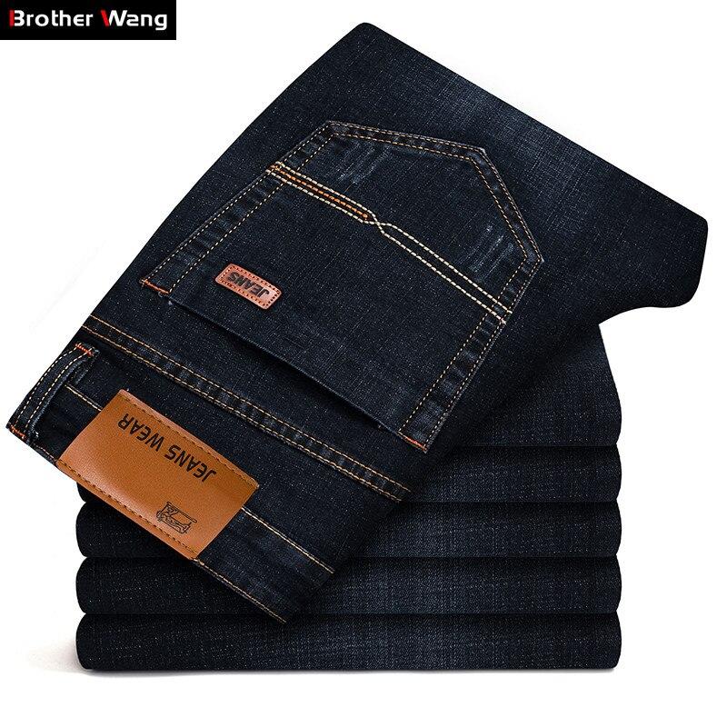 Hermano Wang marca 2018 nueva moda de los hombres Jeans Casual de negocios de vaqueros de corte Slim elástico pantalones clásicos pantalones de hombre 101