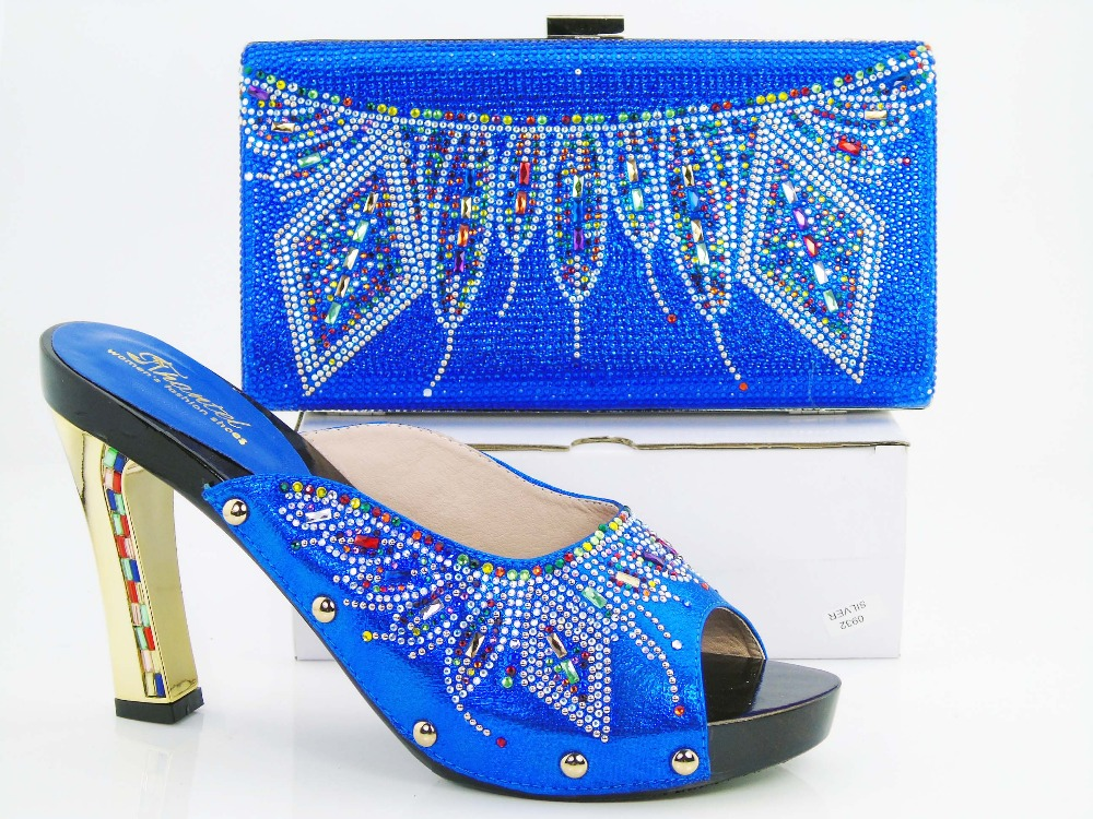 Fashionable lady high heel shoes perfect matching with handbag African shoes and bag sets for party royal blue  HRT1-15