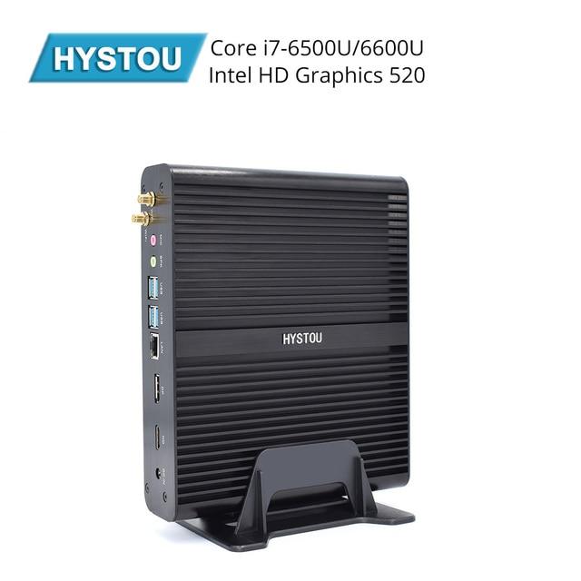 Hystou Mini PC Windows 10 Intel Core i7 6500U Dual Core Fanless Mini Desktop PC HDMI VGA WiFi Nettop HTPC support 4G SIM card