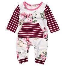 Nette Neugeborene Kleinkind Kinder Baby Mädchen Floral Kleider Langarm Baumwolle Strampler Overall einteiliges