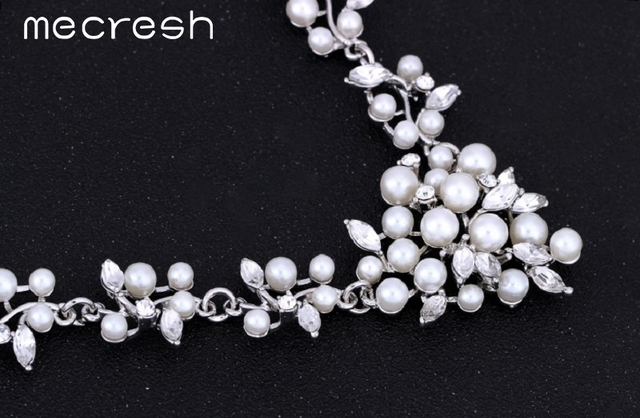 Exquisite Imitated Pearl Bridal Jewellery Crystal Necklace & Earrings