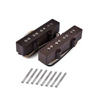 Guitar Pickup Alnico V single coil Neck And Bridge For 4 String FD JB Jazz Bass Wood Color Guitar Accessories W20