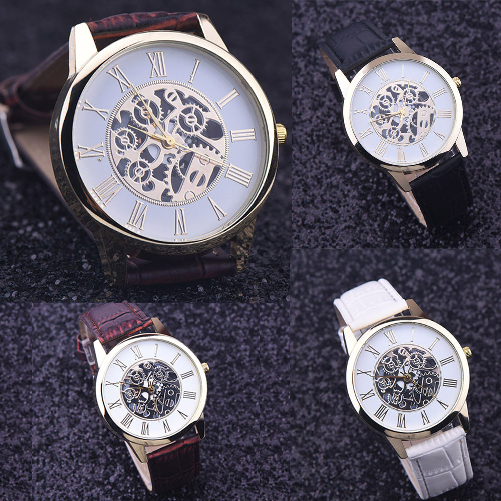 Watches Men Rreloj Hombre Golden Hollow Watch, Luxury Casual Steel Business Imitate Mechanical Watch Male Clock Relogio #5