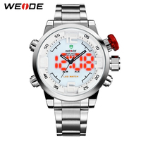 WEIDE Original Brand Men Watch Waterproof Stainless Steel Silver LED Analog Digital Display White Dial Wrist Watch Gifts For Man