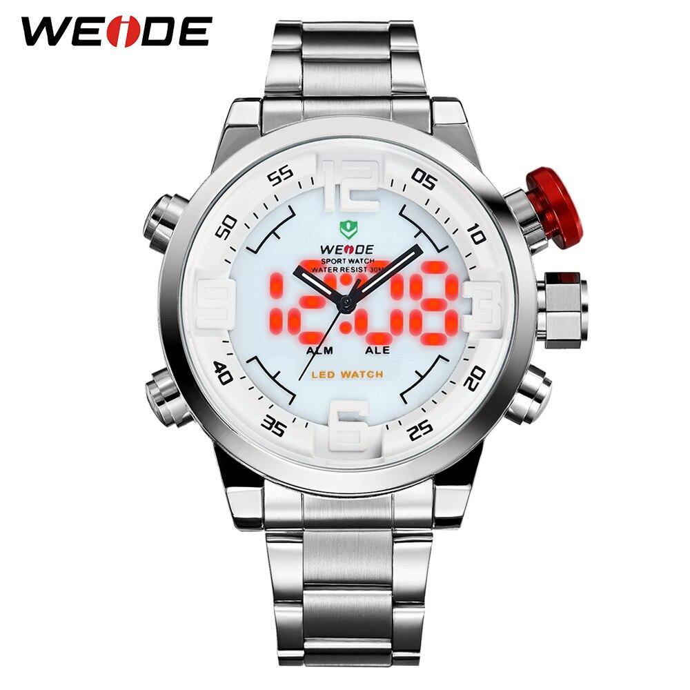 WEIDE Original Brand Men Watch Waterproof Stainless Steel Si