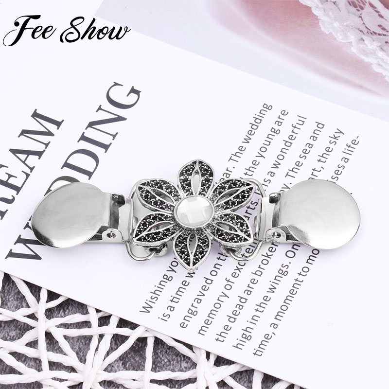 Women Vintage Silver Retro Flower Sweater Shawl Clips Cardigan Collar Cloak Clasp Duck-mouth Clip Holder Clothing Pins Clip