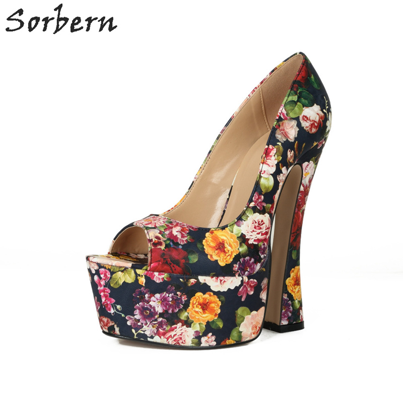 Sorbern Flower Women Pumps Square Chunky High Heels Platform Shoes Summer Style Peep Toe Slip On Womens Big Size Shoes EU 40-46 xiaying smile new summer women sandals high square heels pumps fashion platform shoes casual lady mature style slip on shoes