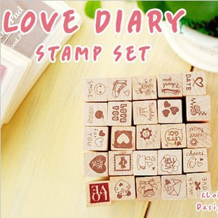 South Korea stationery cute diary decoration stamp Children's toys cartoon wood stamps 25set тетрадь для рисования south korea shopping secret garden key