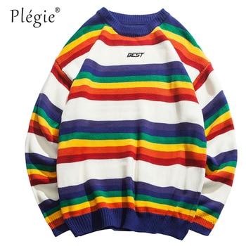 Plegie Harajuku Rainbow Striped Knitted Pullover Sweater Hip Hop Color Block Fashion Streetwear 2018 Winter Christmas Sweater фото