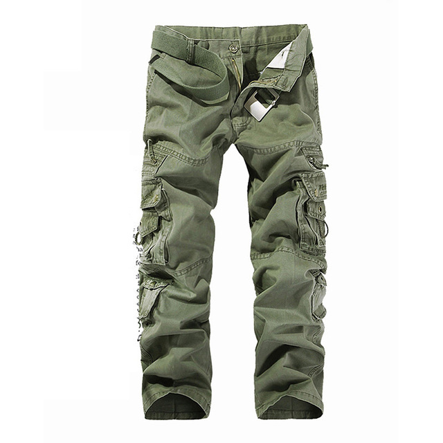 Designer Men's Cargo Pants Fashion Multi-pocket Plus Size 100% Cotton Casual Tooling Pants Men Overall Pant 5 Colors AF015