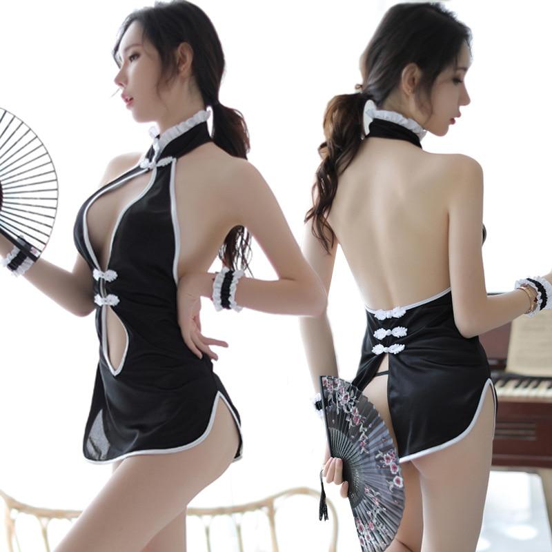 Sexy Elegant Mini Chinese Qipao Uniforms Short Package Babydoll Underwear Cheongsam Porno Lingerie Erotic Costumes Dress