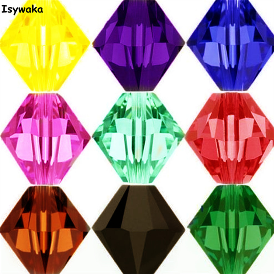 Isywaka Sale U Pick Color 3mm 4mm 6mm 8mm Bicone Austria Crystal Bead charm Glass Bead Loose Spacer Bead for DIY Jewelry Making(China)