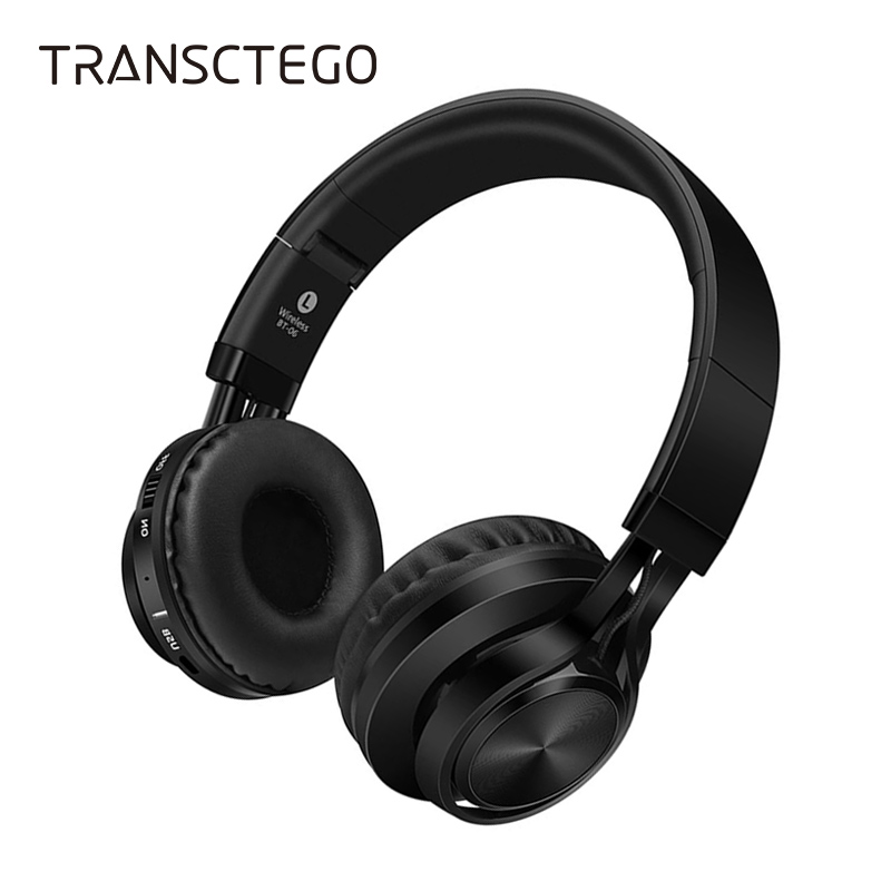 TRANSCTEGO Bluetooth Earphone Wireless Stereo Headphone Support TF Card FM Radio Handfree Handset With Mic For mobile phone hlton portable 2 in 1 universal wireless bluetooth stereo headphone with mic support tf card headset for smartphone computer