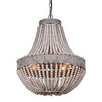 Metal and Circular Wood Bead Chandelier Pendant 3 Lights Grey White Retro Vintage Industrial Rustic Ceiling Lamp Light