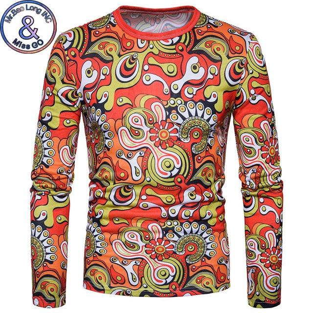 65e23400b563 Fashion 3D Psychedelic Print T-shirt Men 2018 New Slim Fit Long Sleeve T  Shirt Mens Harajuku Hip Hop Streetwear Tee Shirt Homme
