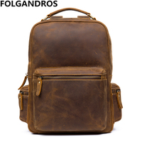High Quality Vintage Cowhide Backpack Men Women Fashion Backpack Genuine Leather Daypack Casual Double Shoulder School Bag Bolsa
