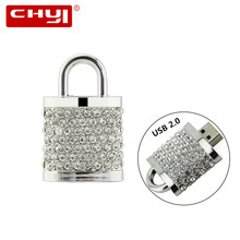 Personalized Jewelry USB Flash Drive Crystal Lock 4gb 8gb 16gb 32gb 64gb USB 2.0 Diamond Necklace Pendrive Gift Flash Drive