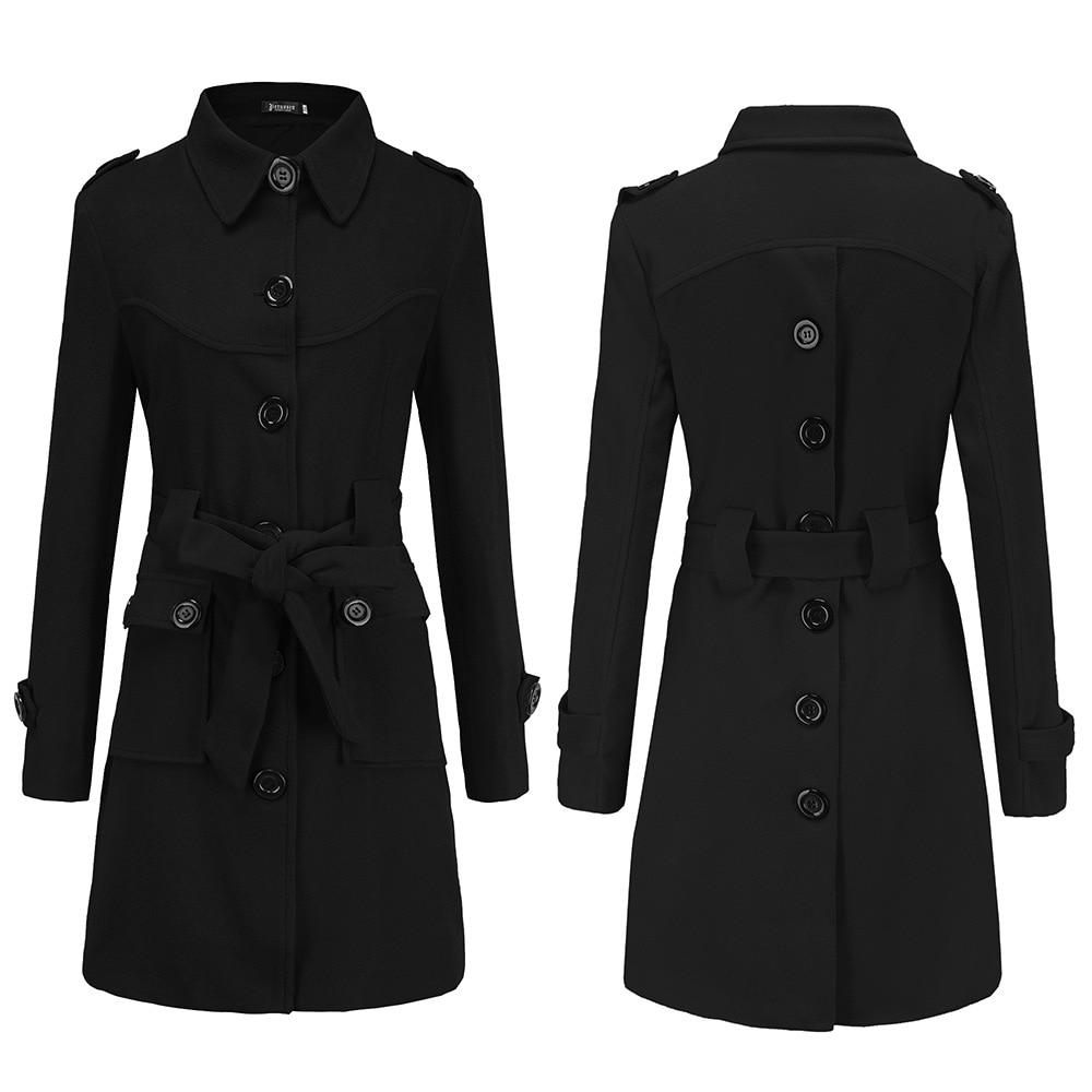 2018 Autumn Winter Women A-line Skirt Coat Double Breasted Slim Medium-Long Trench Coats Female Jackets XXL jaqueta feminina