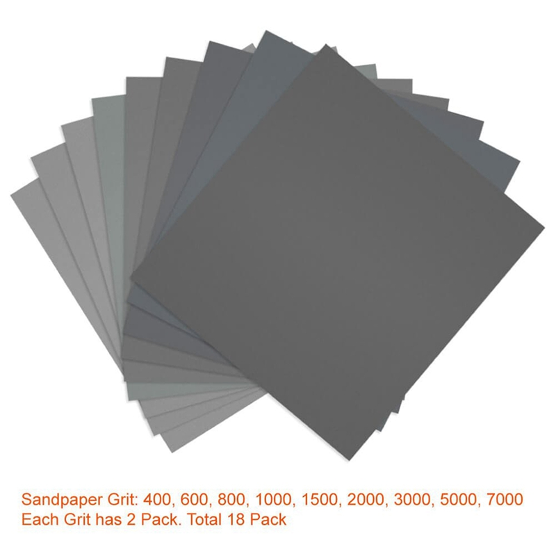 18 Pcs 9x11 Inch High Grit Wet And Dry Sandpaper Assortment 400 600 800 1000 1500 2000 3000 5000 7000 Sanding Paper Sheets For