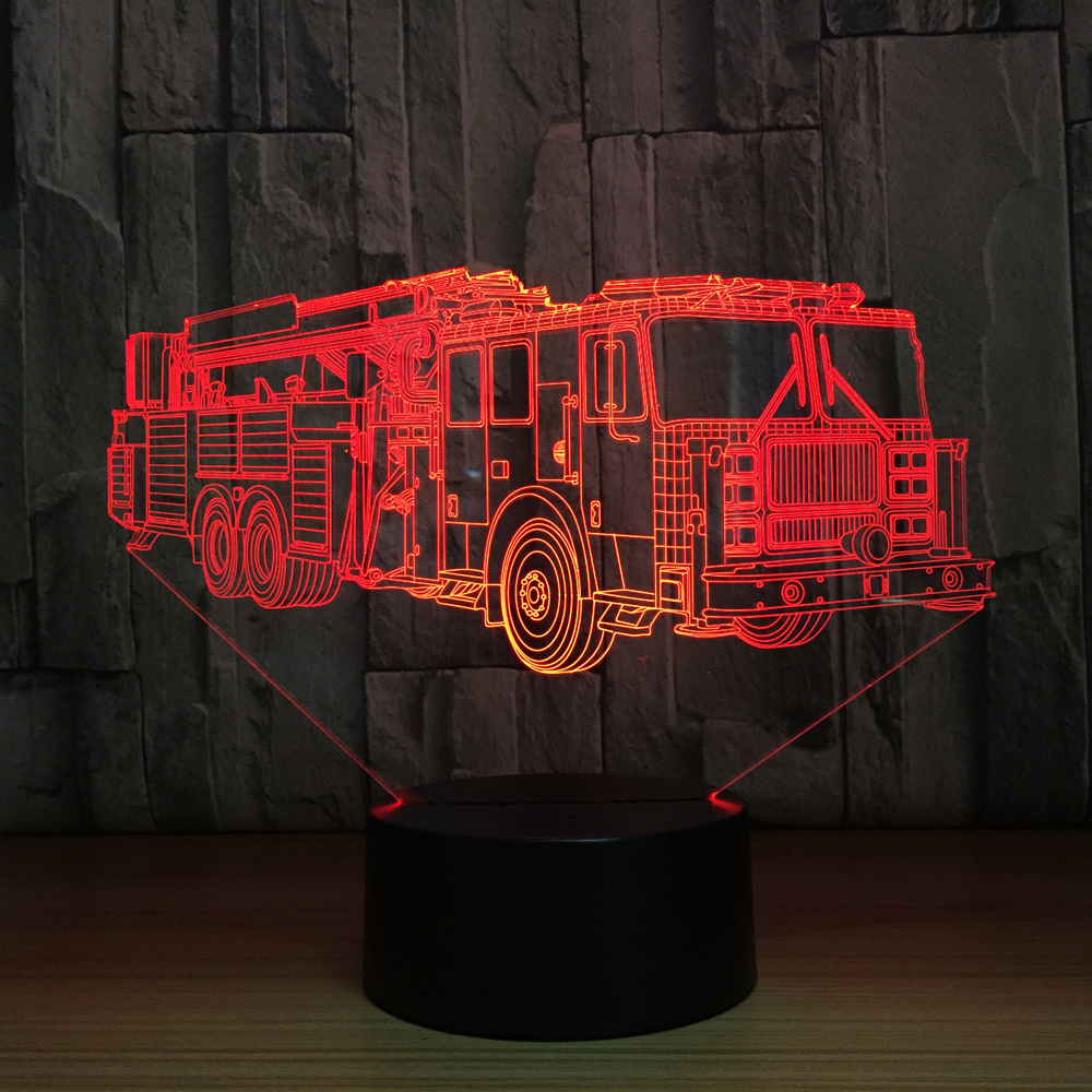 3D Fire Engine Modelling Table Lamp 7 Colors Changing Fire Truck Car Night Light USB Sleep Light Fixture Bedroom Decor Kids Gift