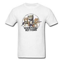 цена на Men's T-shirts Casual Bomb Squad Kittens 90's Cartoon Funny Short Sleeve Tee Shirt Print Fashion Brand New Tshirts On Sale
