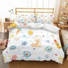 Cartoon Universe Kids Bedding Set Aliens Space Planet Astronaut Printed Blue/Yellow/White/Red Duvet Cover 3PCS+2 Pillowcase