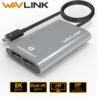 Wavlink Thunderbolt 3 Type C USB3.1 Dual DisplayPort Support Up To 8K Super Speed USB Hub Adapter For Laptop/Desktop Mac OSX