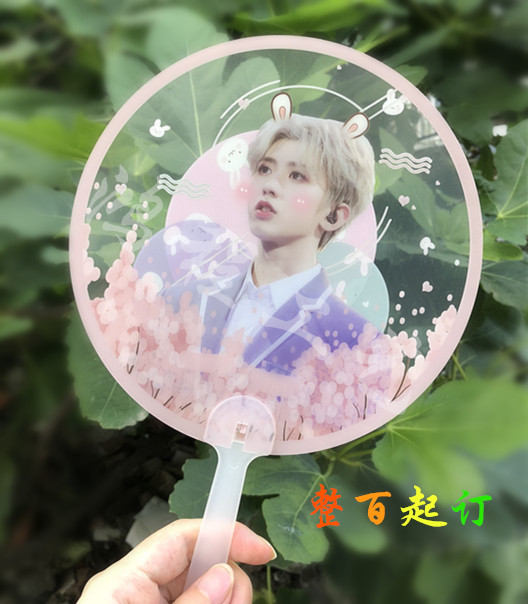 100pcs Round shape Plastic Transparent Custom Hand Fan for wedding Logo printing picture Customized clear fans
