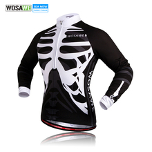 WOSAWE Men's long sleeves cycling jersey Skeleton Mtb Bicycle Jerseys Breathable Bike shirt Ciclismo sports Cycling Clothing