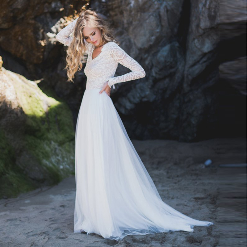 2019 A-Line Long Sleeve Wedding Dress Lace Top V Neck Tulle Skirt Backless Princess Beach Wedding Gown Boho Bride Dress