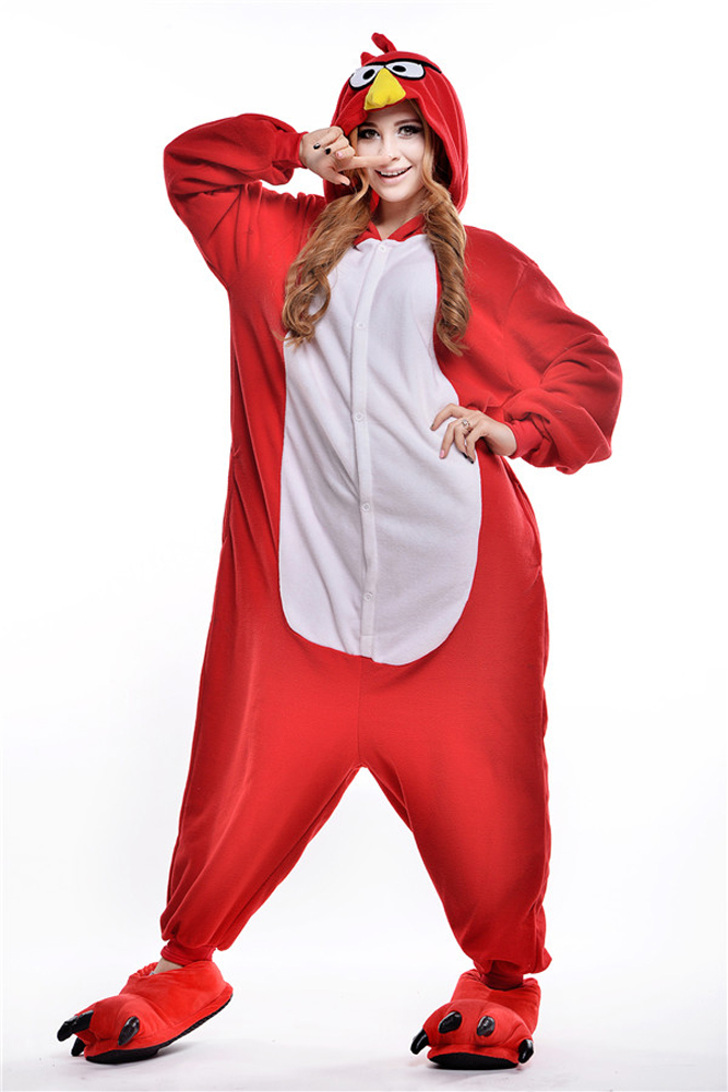 cosplay costume little red bird cartoon animal one piece sleepwear pyjama femme couple pajama. Black Bedroom Furniture Sets. Home Design Ideas