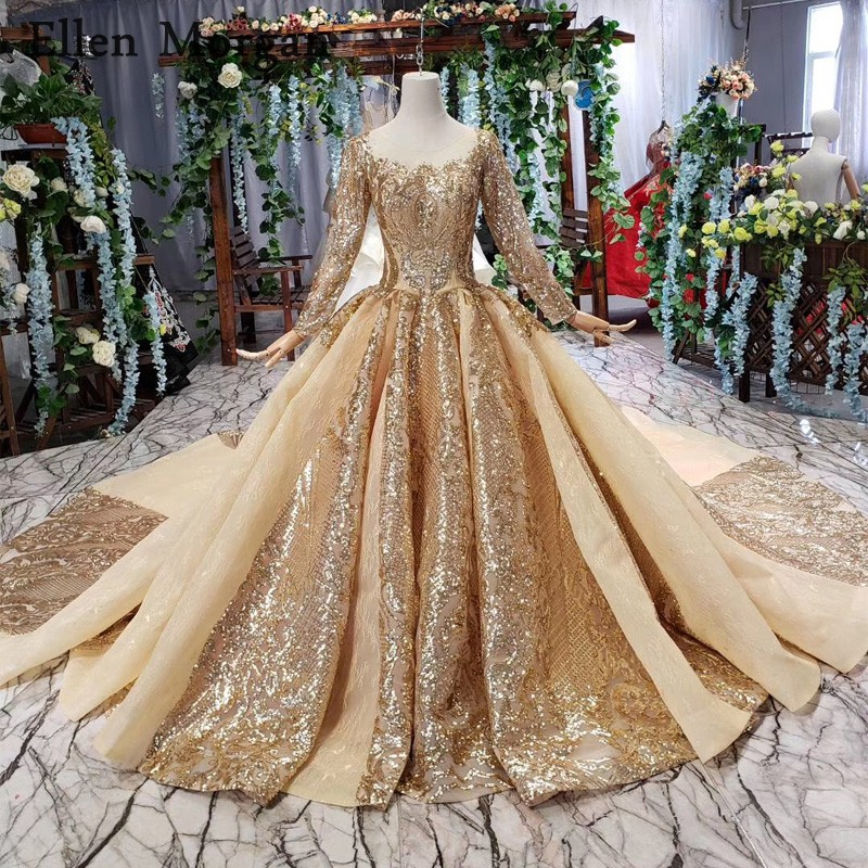 Gold Saudi Arabia Ball Gowns Wedding Dresses 2019 Boat Neck Long Sleeves Corset Real Photos Glitter Lace Sheer Neck Bridal Gowns