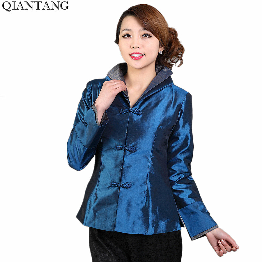 High Quality Navy Blue Spring Women's Jacket Classic China Style Silk Satin Coat Mujeres Chaqueta Size S M L XL XXL XXXL Mny11 C