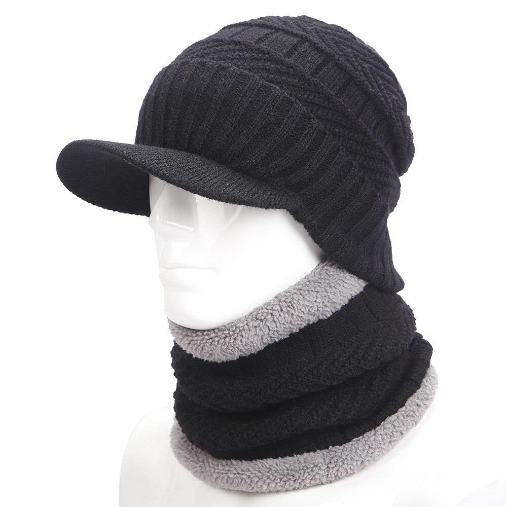 Теплая зимняя шапка вязаная шапка шарф шапка зимняя Шапки для мужчин вязаная шапка мужская шапка вязанная шапочка Skullies шапочки Для мужчин ш...