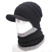 Calentador del invierno sombrero gorro de lana bufanda cap Sombreros de Invierno Para los hombres hombres sombrero de punto Beanie Sombrero de Punto Skullies Gorros de Hombres Gorros Cap MI
