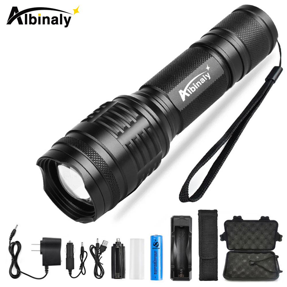Albinaly LED Flashlight Ultra Bright CREE XML-T6/L2 Led torch 5 Modes 8000 Lumens Zoomable LED Torch 18650 Battery+Charger big promotion ultra bright cree xm l t6 led flashlight 5 modes 4000 lumens zoomable led torch 18650 battery charger clip