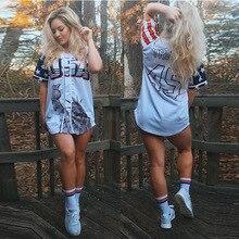 SUWA Single Breasted Casual T Shirts Summer V Neck Short Sleeve Long Tees  Women Print 53854a9152d0